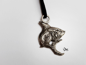 Hungry Shark Pendant in Polished Bronzed Silver Steel