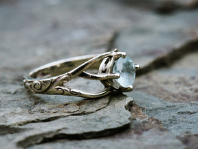 Solitaire Engagement Ring w/Branched Band in 14k White Gold