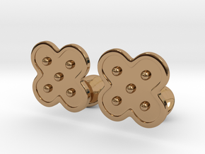Flower Cufflinks in Polished Brass