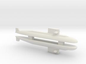 PLA[N] 039A Submarine x 2, 1/2400 in White Natural Versatile Plastic