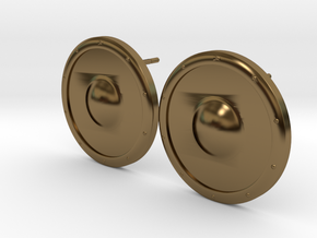 Plain Round Shield Earring Set in Polished Bronze