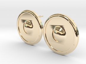 Plain Round Shield Earring Set in 14k Gold Plated Brass