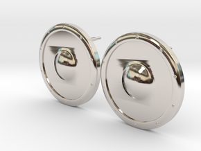 Plain Round Shield Earring Set in Rhodium Plated Brass