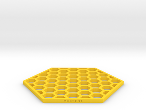 Honeycomb Coaster in Yellow Processed Versatile Plastic