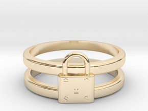 Padlock Double-banded Ring in 14k Gold Plated Brass