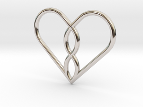 Infinity Heart Pendant Mini in Rhodium Plated Brass