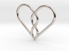 Infinity Heart Pendant Mini in Rhodium Plated Brass