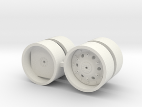 "1/64  Jd 46"" Rims and dual rims in White Natural Versatile Plastic"