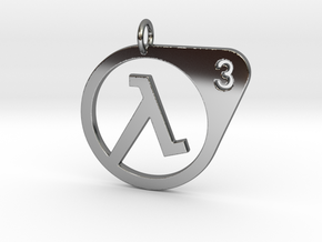 Half Life 3 Confirmed Pendant in Fine Detail Polished Silver