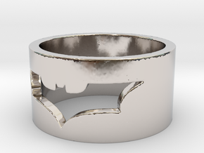 Batman Ring Size 10 in Rhodium Plated Brass