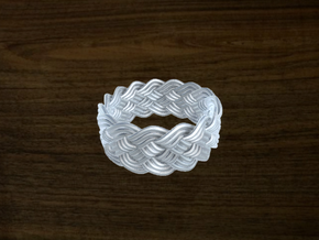 Turk's Head Knot Ring 5 Part X 15 Bight - Size 10. in White Strong & Flexible