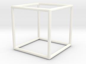 Cube Geometric Pendant in White Processed Versatile Plastic