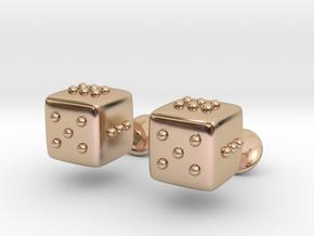 Dice Cufflinks in 14k Rose Gold Plated Brass