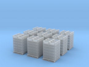 Citrus Field Lugs in Stacks with Pallets in N Scal in Smooth Fine Detail Plastic