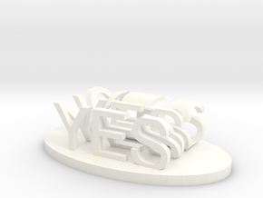 Yes/No in White Processed Versatile Plastic