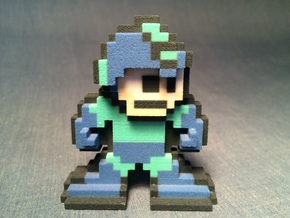 World of Nintendo Style 8-Bit Megaman Figure in Full Color Sandstone