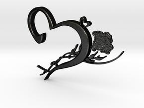 Heart & Rose Necklace Pendant in Matte Black Steel