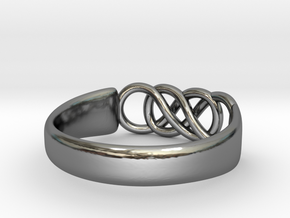 Double Infinity Ring 15.3mm Size4-0.5 in Fine Detail Polished Silver
