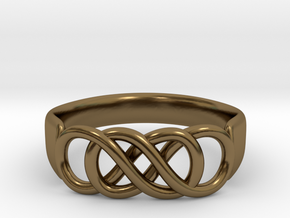 Double Infinity Ring 15.7 mm Size 5 in Polished Bronze