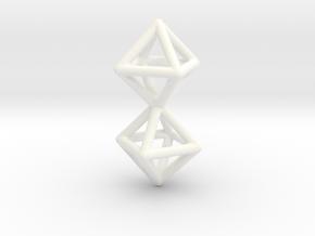 Twin Octahedron Frame Pendant in White Processed Versatile Plastic