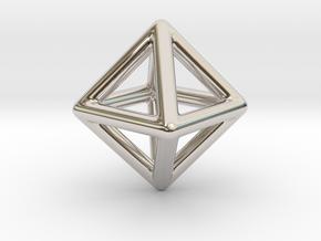 Minimal Octahedron Frame Pendant in Platinum
