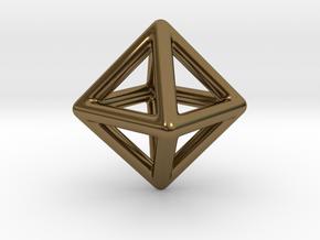 Minimal Octahedron Frame Pendant in Polished Bronze