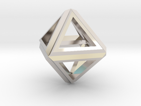 Octahedron Frame Pendant V1 in Platinum