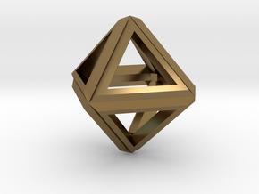 Octahedron Frame Pendant V1 in Polished Bronze