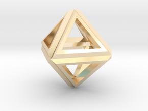 Octahedron Frame Pendant V1 in 14k Gold Plated Brass