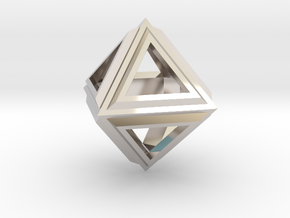 Octahedron Frame Pendant V2 in Platinum