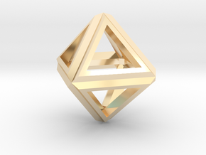 Octahedron Frame Pendant V1 Small in 14K Yellow Gold