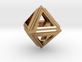 Octahedron Frame Pendant V2 Small in Polished Brass