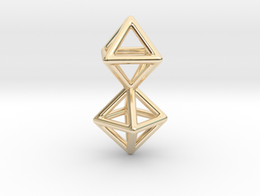 Twin Octahedron Frame Pendant Small in 14K Yellow Gold