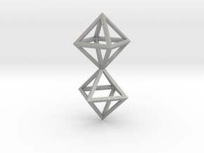 Faceted Twin Octahedron Frame Pendant in Aluminum