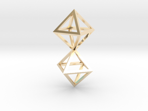 Faceted Twin Octahedron Frame Pendant Small in 14K Yellow Gold