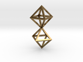 Faceted Twin Octahedron Frame Pendant Small in Polished Bronze