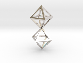 Faceted Twin Octahedron Frame Pendant Small in Rhodium Plated Brass