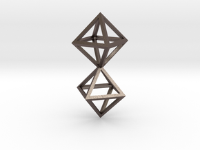 Faceted Twin Octahedron Frame Pendant Small in Polished Bronzed Silver Steel