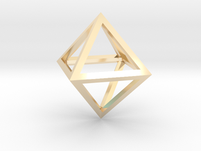 Faceted Minimal Octahedron Frame Pendant in 14K Yellow Gold