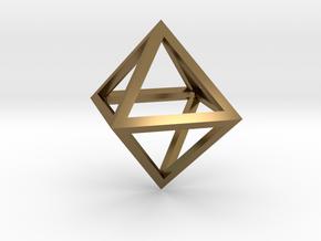 Faceted Minimal Octahedron Frame Pendant in Polished Bronze