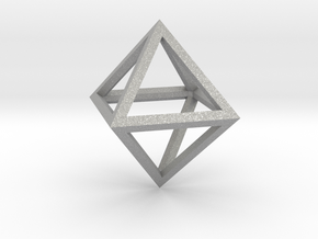 Faceted Minimal Octahedron Frame Pendant in Aluminum
