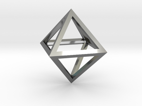Faceted Minimal Octahedron Frame Pendant Small in Fine Detail Polished Silver