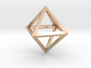 Faceted Minimal Octahedron Frame Pendant Small in 14k Rose Gold Plated Brass