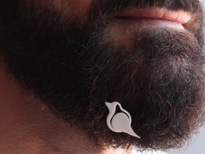 Robin for beard - front wearing in White Natural Versatile Plastic