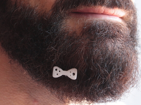 Papillon for beard - front wearing in White Natural Versatile Plastic