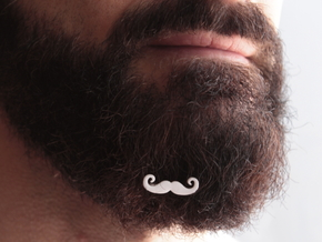 Mustache for beard - front wearing in White Natural Versatile Plastic