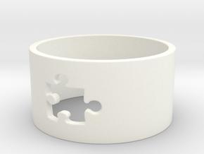 Puzzle Piece Ring Size 8 in White Processed Versatile Plastic