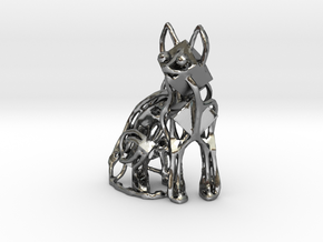 GeoCat Cat Pendant Charm in Polished Silver