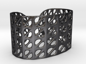 Bracelet, Generative Pattern, size M in Polished and Bronzed Black Steel