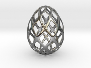 Trellis - Decorative Egg - 2.3 inches in Fine Detail Polished Silver